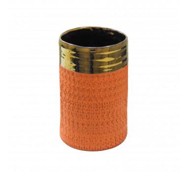 Vaso Decorativo em Cerâmica Pequeno Laranja - 18x11cm