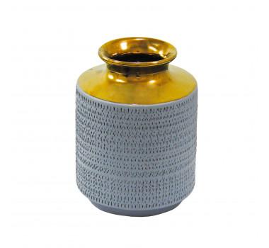 Vaso Decorativo em Cerâmica Cinza - 21x15cm