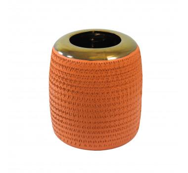 Vaso Decorativo em Cerâmica Pequeno Laranja - 20x16cm