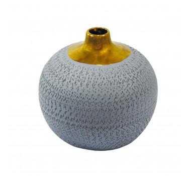 Vaso Decorativo em Cerâmica Cinza - 18x18cm