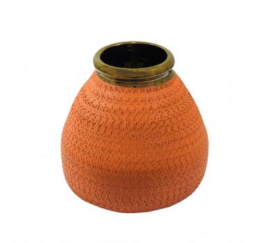 Vaso Decorativo em Cerâmica Laranja - 18x20cm