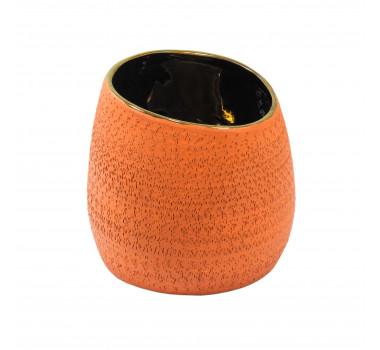Vaso Decorativo em Cerâmica Laranja - 15x15x15cm