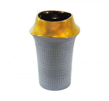 Vaso Decorativo em Cerâmica Cinza - 30x20cm
