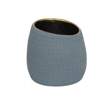 Vaso Decorativo em Cerâmica Cinza - 15x15x15cm