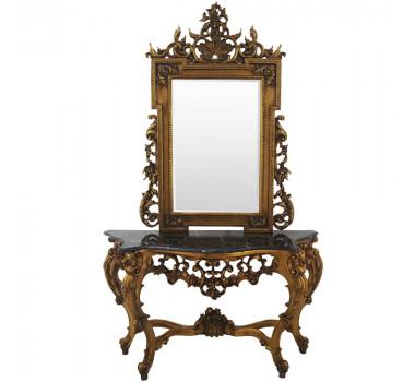 Aparador Escuro Dourado com Marmore Linha Soffie Espelho Circular Luis XV