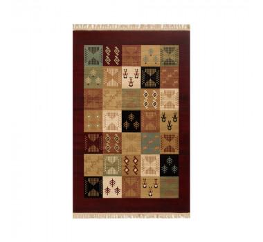 tapete-persa-isfahan-vermelho-com-detalhes-geometricos-coloridos-67x120cm