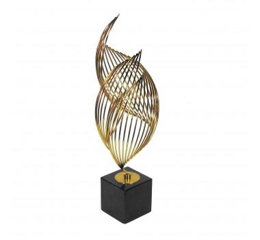 Escultura em Metal e Mármore - 48x26x15cm