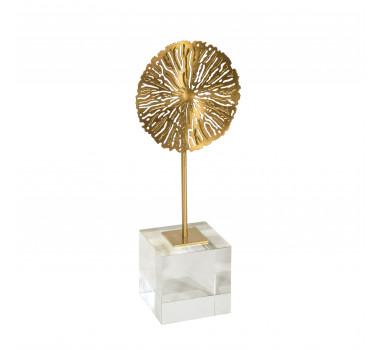 Escultura de Flor Dourado em Metal - 30x12x08cm