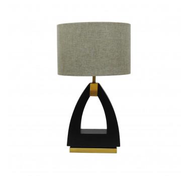 Abajur de Mesa em Metal Preto com Dourado - 68x39cm