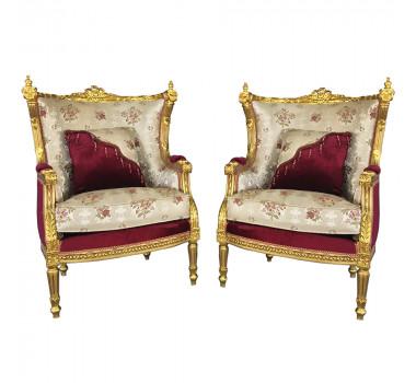 Par de Poltronas Clássica Luis XVI Madeira Folheada a Ouro