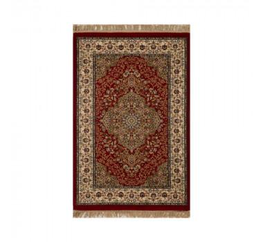 Tapete Persa Kerman Vermelho e Bege com Detalhes - 67x120cm