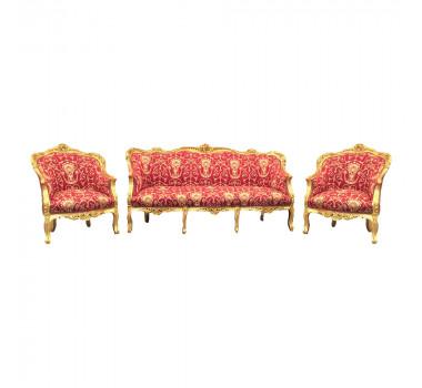 Jogo de Sofá Clássico Luis XV Vermelho 2 Poltronas