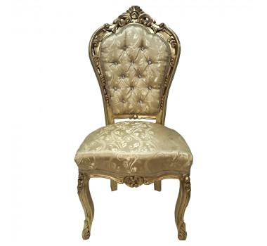 Cadeira em Madeira Folheada a Ouro Tecido Capitonê