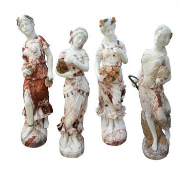 Conjunto De Esculturas Quatro Estações Em Mármore Sobreposto