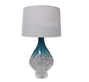 Abajur de Mesa em Vidro Azul 70 cm X 36 cm