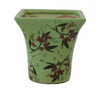 cachepot-em-ceramica-com-desenho-de-folhas - 20x16cm