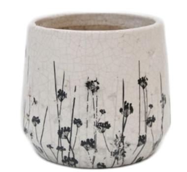 Cachepot em Cerâmica com Desenho de Flores Modelo 07