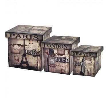 Conjunto de Baús Case Box em Madeira
