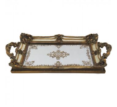 Bandeja Espelhada em Resina Dourada Laura