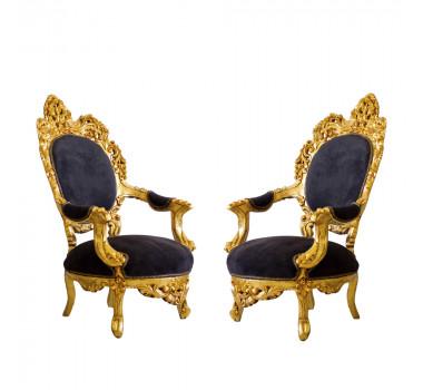 Par de Poltronas Clássica  Tipo Luis XV Linha Pallace Royal com Tecido Preto