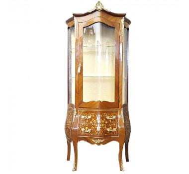 Cristaleira Marchetada Luis XV Clássica 2 Gavetas em Madeira