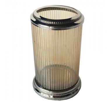 Porta Escovas De Dente Aluminio E Vidro
