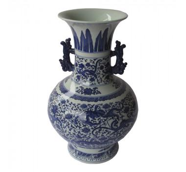 Ânfora Decorativa em Porcelana Oriental Azul e Branco