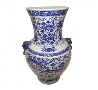 Ânfora Decorativa em Porcelana Chinesa Azul