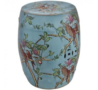 Garden Seat em Porcelana Azul Vazado Pintura de Pássaros