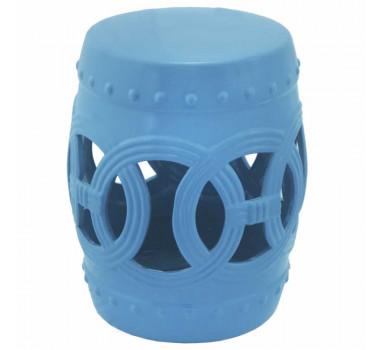 Garden Seat em Cerâmica Azul Claro com Detalhes Vazados