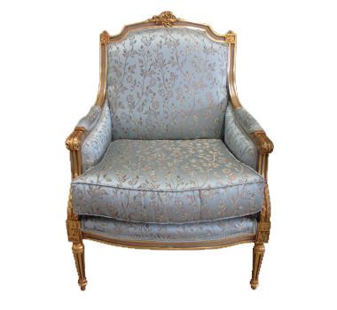 Poltrona Clássica Luis XVI com Estofado Azul e Folheada à Ouro