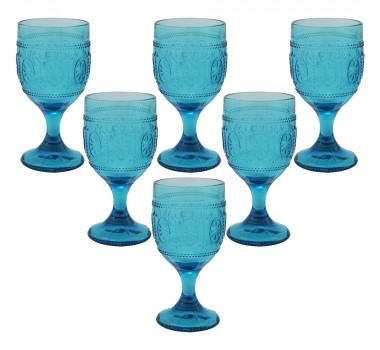 Jogo de Taças de Água em Cristal Azul 16x08cm 6 peças