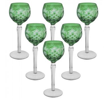 Jogo 6 Taças em Cristal Tcheco Verde para Vinho 250 ml