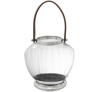 Lanterna Decorativa De Metal e Vidro Chistina