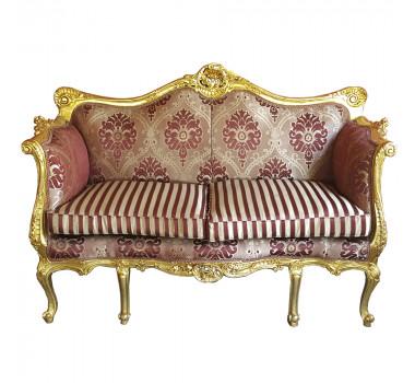 Sofá Clássico Estilo Francês Luis XV em Madeira Entalhada Folheado a Ouro