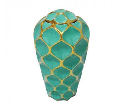 Par de Vasos Decorativos Grandes em Porcelana Verde e Dourado