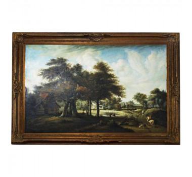 Quadro Decorativo Com Moldura em Madeira Paisagem com Árvores