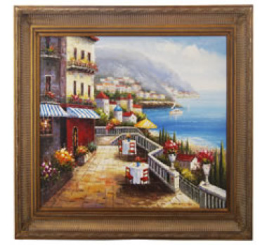 Quadro Decorativo Com Moldura em Madeira Beira da Praia Modelo 02