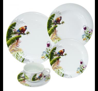 Aparelho de Jantar em Porcelana com Desenhos de Pássaros - 30 Peças