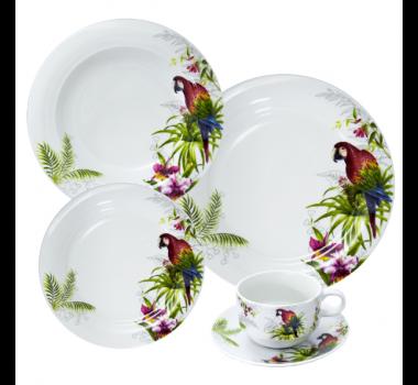 Aparelho de Jantar em Porcelana com Desenhos de Pássaros e Flores - 30 Peças