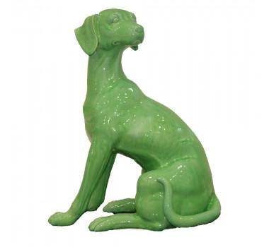 Cachorro Sentado Em Porcelana na cor Verde