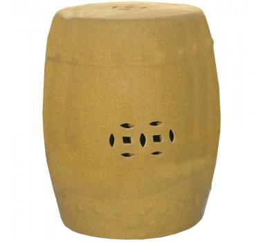 Garden Seat em Porcelana Amarelo com Detalhes Vazados