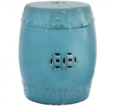 Garden Seat em Cerâmica Azul com Detalhes Vazados