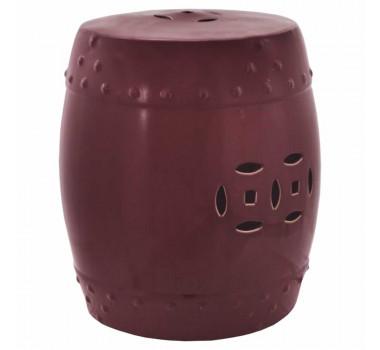 Garden Seat em Cerâmica Vinho com Detalhes Vazados