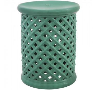 Garden Seat em Cerâmica Vazado Verde Água