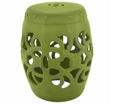 Garden Seat em Cerâmica Verde Vazado e Relevo