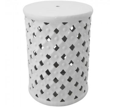 Garden Seat em Cerâmica Branco Vazado com Relevo