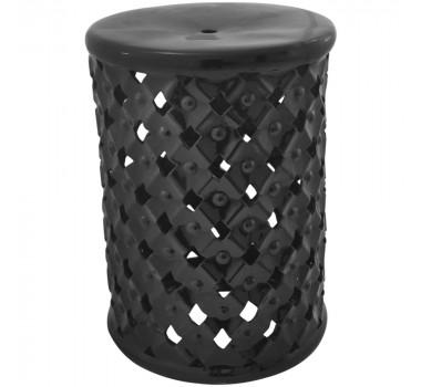 Garden Seat em Cerâmica Preto Vazado com Relevo