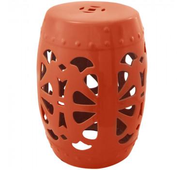Garden Seat em Cerâmica Laranja com Detalhes Vazados