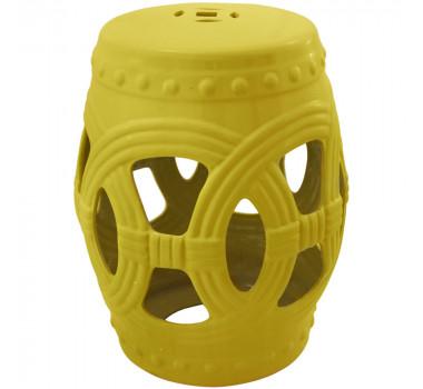 Garden Seat em Cerâmica Amarelo Vazado com Relevo